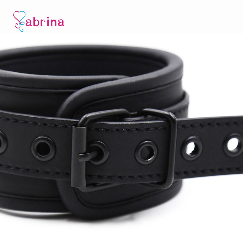Fetish Sexy BDSM Bondage Handcuff and Ankle Cuff Black Leather Handcuff Sex Toy for Couple Game Metal Bondage Erotic Accessories 3