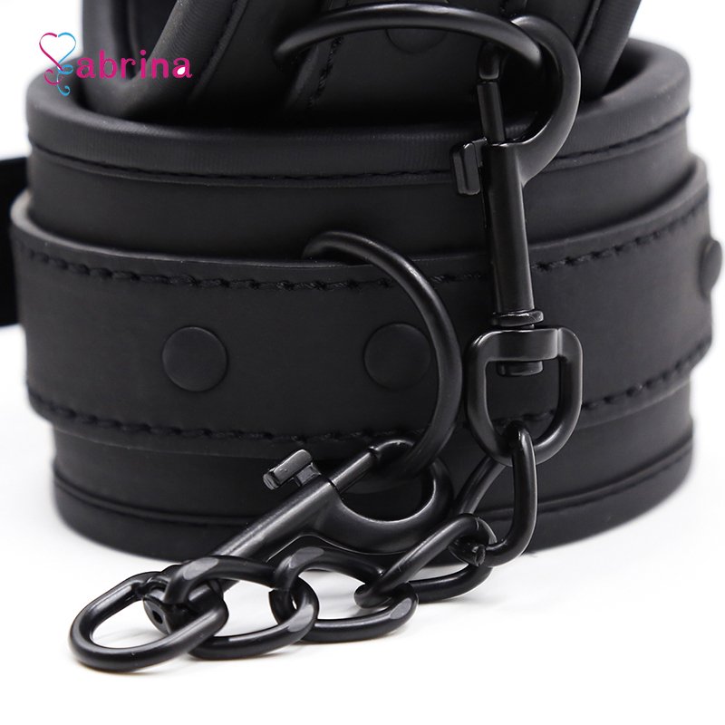 Fetish Sexy BDSM Bondage Handcuff and Ankle Cuff Black Leather Handcuff Sex Toy for Couple Game Metal Bondage Erotic Accessories 5